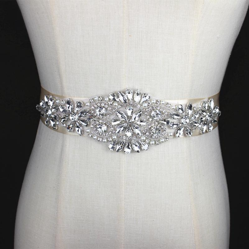 Wedding Sashes Silver Handmade Rhinestone Applique Bridal Belt Crystal Sash With Beaded Pearl For Evening Dress Up Prom