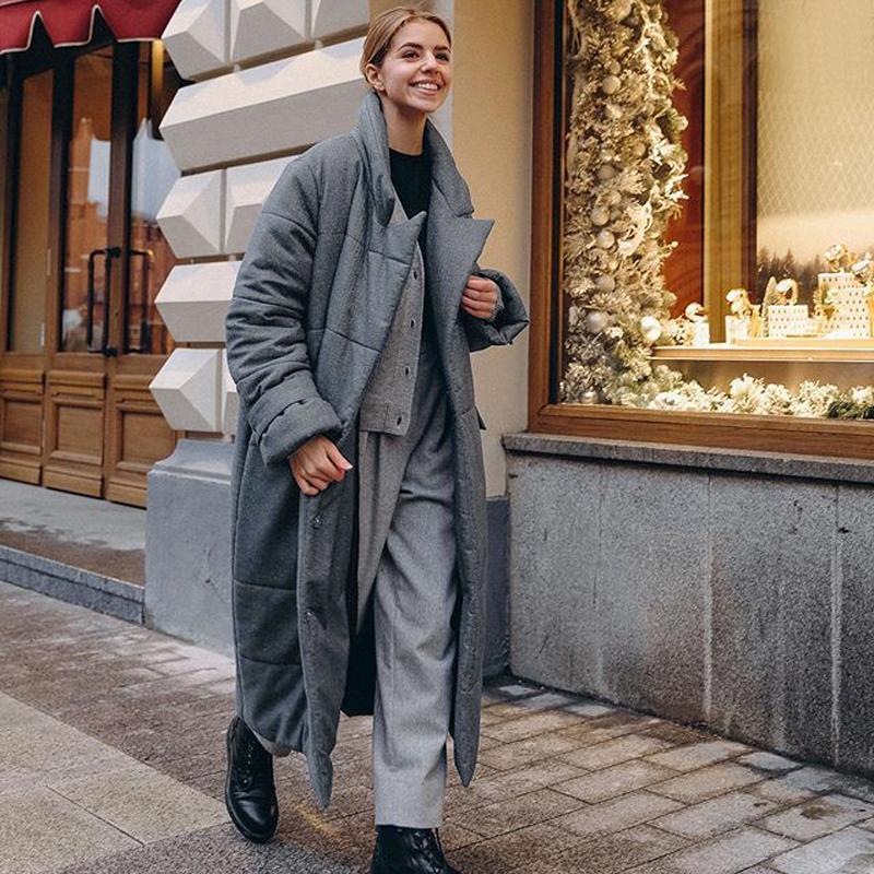 카타라 넥타이 벨트 긴 파카 여성 패션 겨울 코트 우아한 간단한 덮여 버튼 코튼 재킷 여성 숙녀 여성