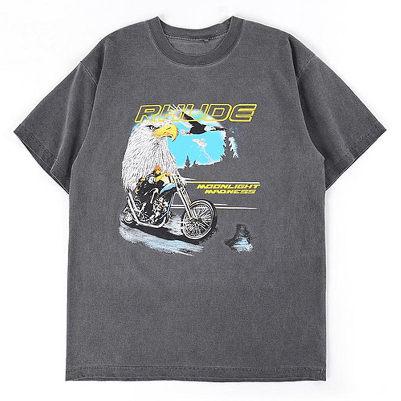 Kartal Rhude Motosiklet Baskı Gevşek Yüksek Sokak Hip Hop Rap Rock Casual erkek ve kadın Kısa Kollu T-shirt