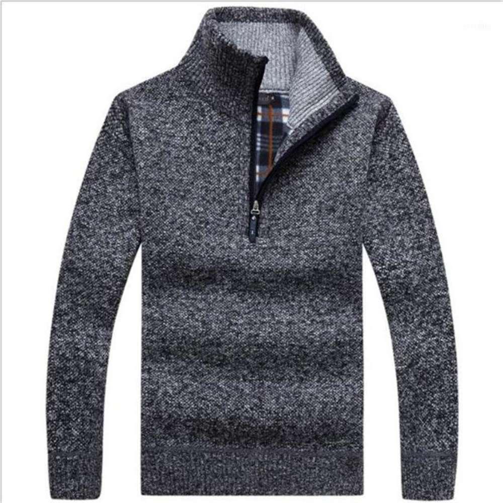 가을 남자의 두꺼운 따뜻한 니트 풀오버 절반 지퍼 양모 양털 겨울 코트 편안한 의류 단단한 긴 소매 터틀넥 스웨터 11
