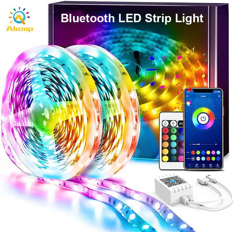 16.4ft 32.8ft 50ft LED-Streifen-Leuchten Bluetooth-App-Steuerung RGB 5050SMD DC12V flexible Smart Strips-Bandleuchte mit Adapter