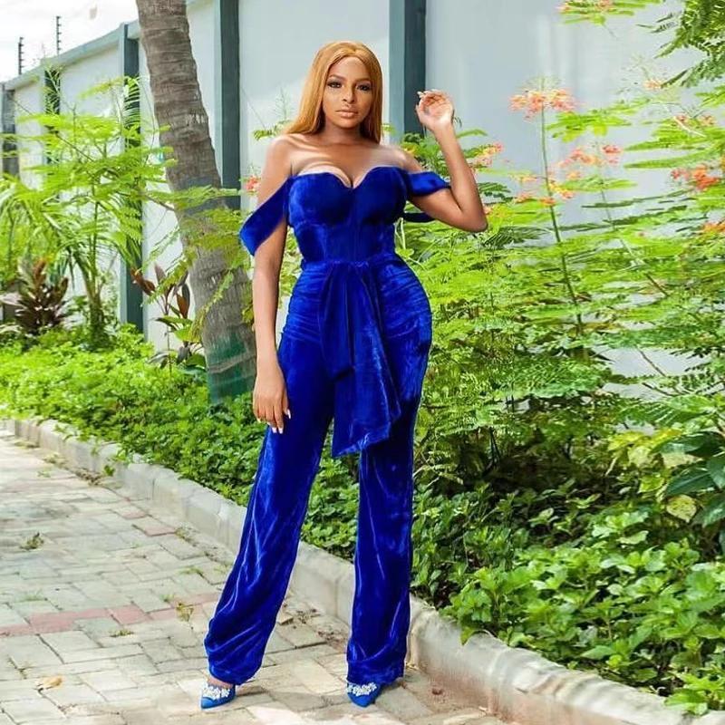 2021 아랍어 스타일 로얄 블루 jumpsuit 댄스 파티 드레스 벨벳 복장 똑바로 여자 특별 행사 저녁 착용