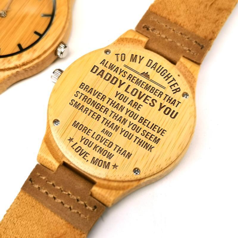 Papa zu meiner Tochter-gravierten Holzstaffelgeburtstags-Geschenkwatch Ahornholz-Uhr-Geschenke Armbanduhren