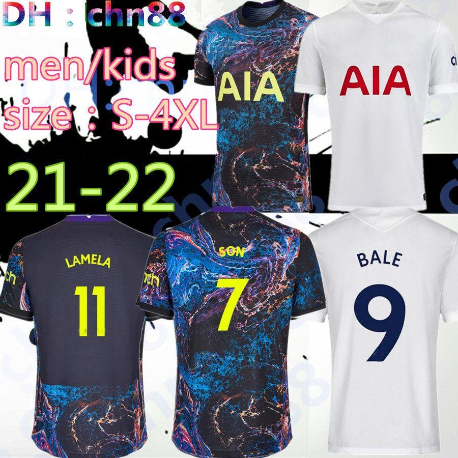 Tamanho: S-4XL 20 21 22 22 Kane Son Bergwijn Futebol Jerseys Version Version Fans 2021 2022 Lucas Spurs Dele Dele Tottenham Camisa de Futebol Bale Ndombele Homens Kit Kit uniformes