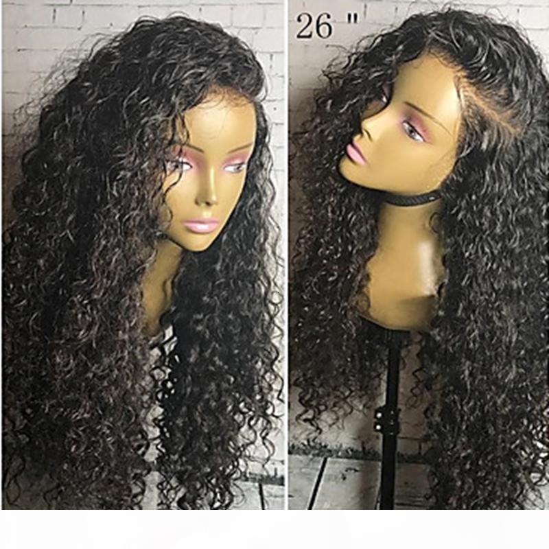 Toptan En Kaliteli Siyah Uzun Kinky Kıvırcık Ucuz Peruk Ile Bebek Saç Isıya Dayanıklı Tutkalsız Sentetik Dantel Ön Peruk Siyah Kadınlar Için