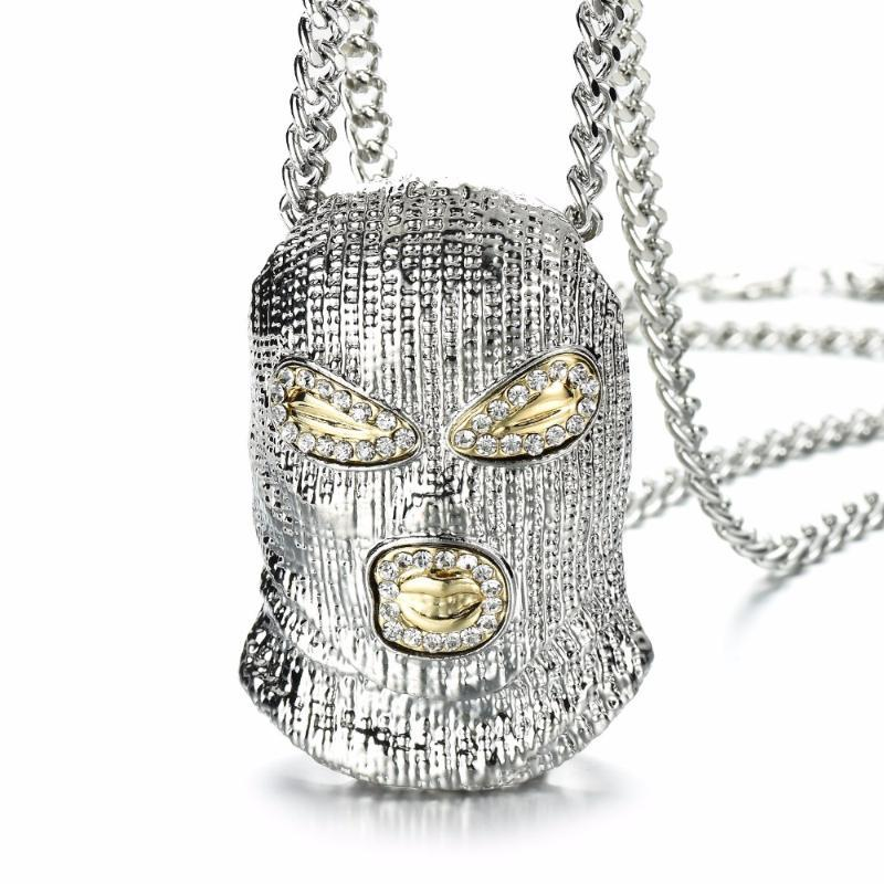 Pendant Necklaces Hip Hop CSGO Necklace Rock Style Bling Out Rhinestone Gold Color Black Mask Head Charm Men Jewelry Gift