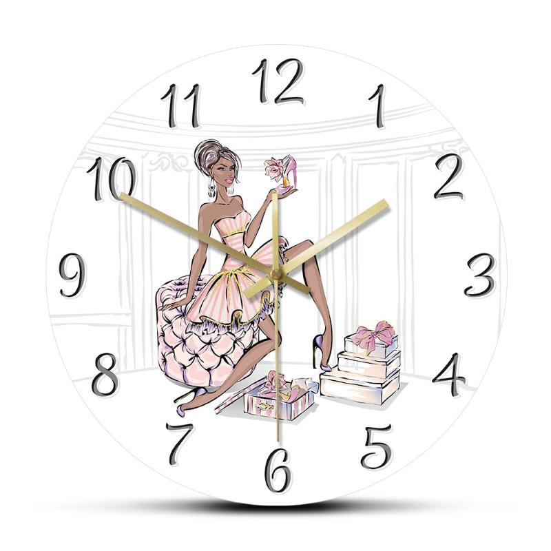 High Heel Shoes Luxury Wall Clock Fashion Girl With Tide Shop Boutique Decoration Hanging Watch Silent Non-ticking Clocks