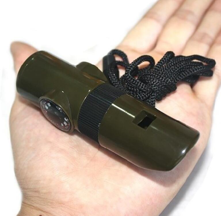 7 em 1 LED lanterna lanterna tocha multifunções ao ar livre ferramenta de sobrevivência sinal apito do apito do apito do bússola com cordão para assobios de acampamento