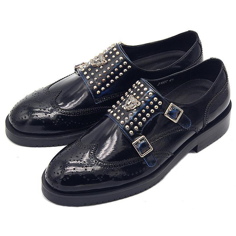 패션 리벳 파티 신발 블랙 정품 가죽 버클 새겨진 남자의 높은 탑 남자 드레스