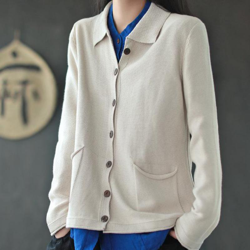 Johnature Lazer All-show de malha colarinho colarinho bolsos cardigan suéter outono simples manga longa mulheres knitwear 210521