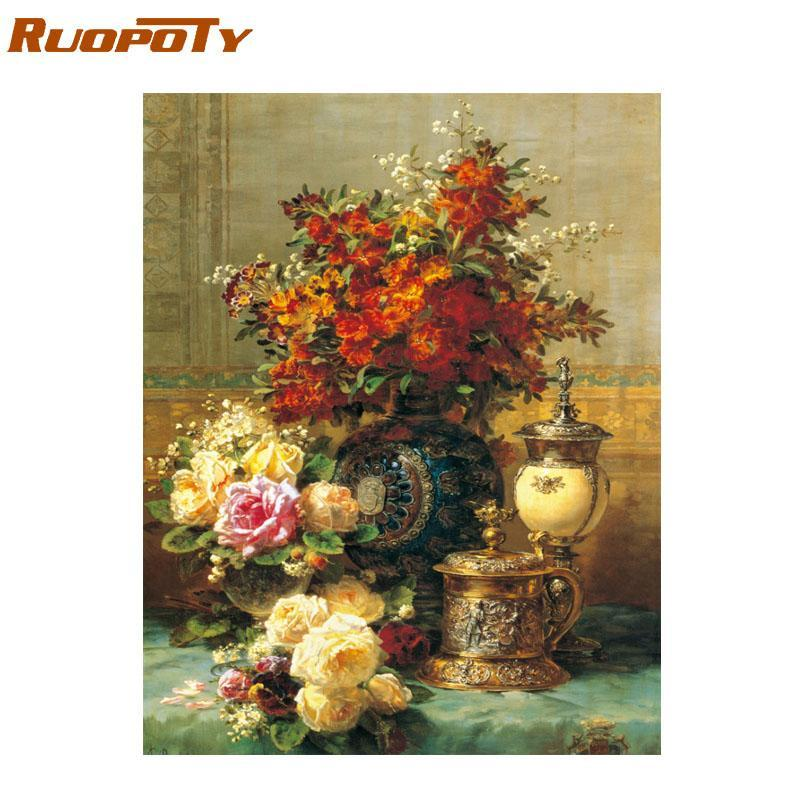 Paintings RUOPOTY Frame 60x75cm Classical Flowers Diy Painting By Numbers Kit Acrylic Paint Canvas Wall Art For Home