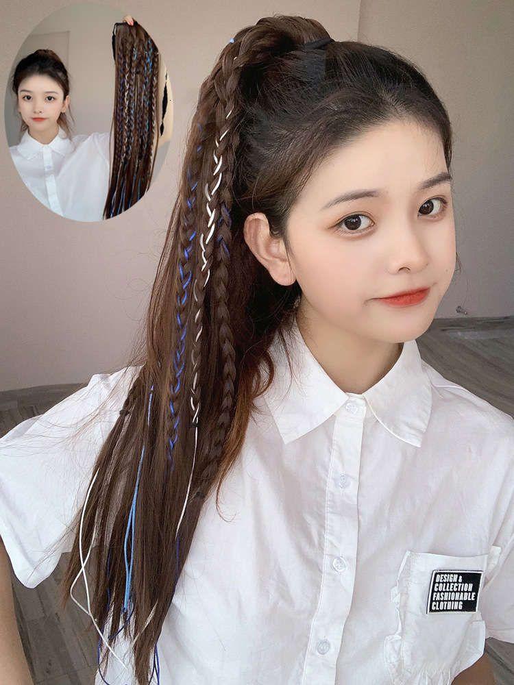 Peluca Larga Hop Hop Fake Twist Braid Vendaje Estilo Temperamento High Ponytail Natural Invisible Curl Cola de pelo recto