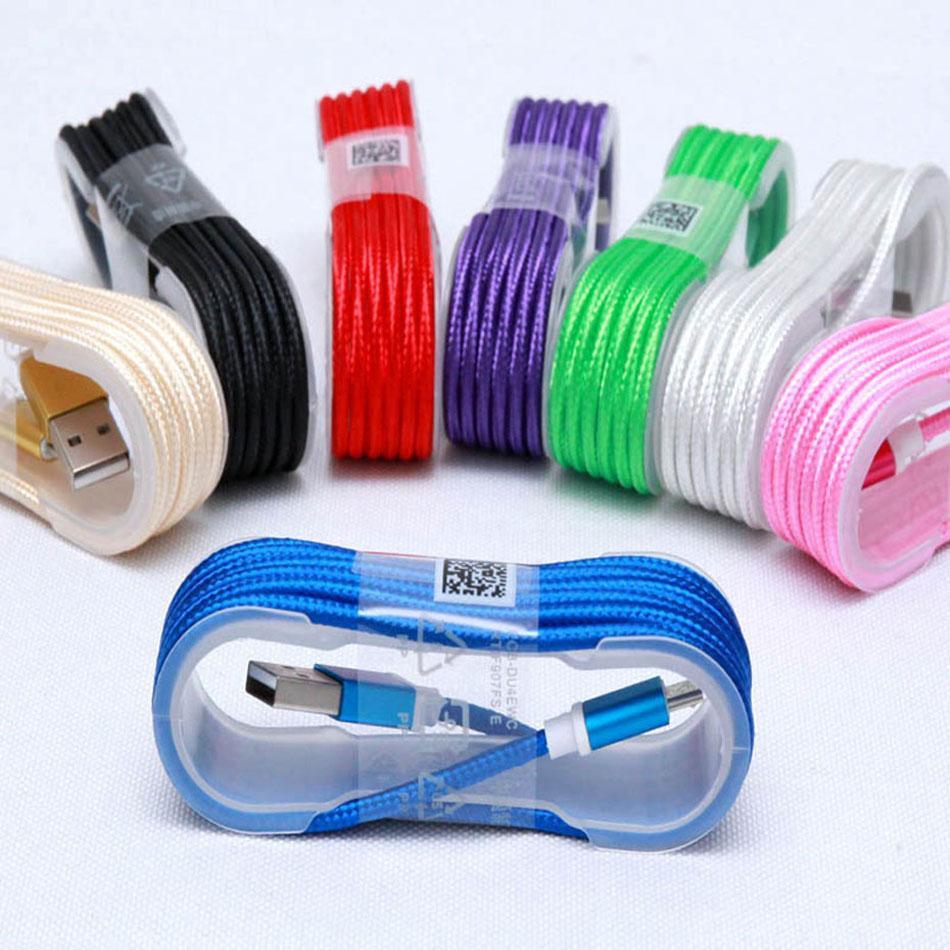 Cavi di sincronizzazione dei dati di sincronizzazione dei cavi del cavo del caricatore del caricatore USB di Nylon in nylon da 1,5 m V8 con nastro Bracke per il telefono cellulare