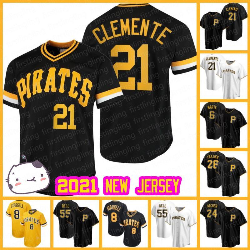Pittsburgh 21 Roberto Clemente Pirates Jerseys 13 Ke'bryan Hayes Adam Frazier Colin Moran Бейсбол Джаред Олива Брайан Рейнольдс Митч Келлер