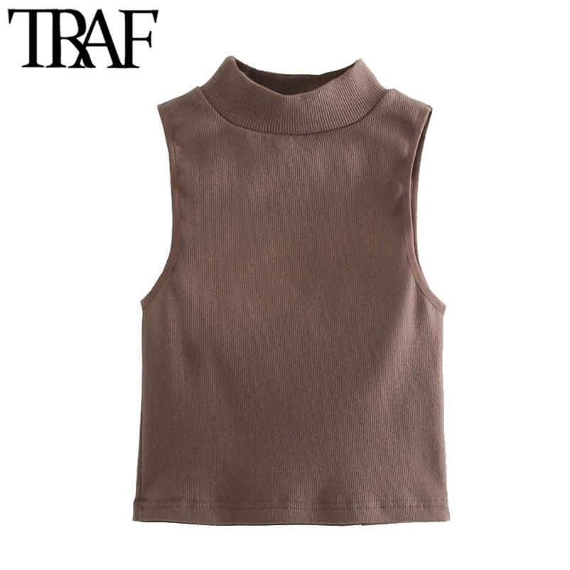 TRAF Women Fashion Stretch Slim Ribbed Knit Tank Tops Vintage High Neck Sleeveless Female Camis Mujer 210630