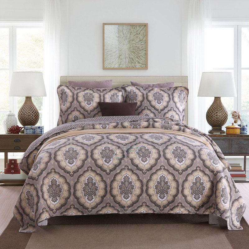 Bettdecken Sets Chauub Vintage Gedruckt Bettdecke Quilt Set 3 stücke gewaschene Baumwollquilts gesteppt Bettdecke Shams King Queen Size Greated Coveret