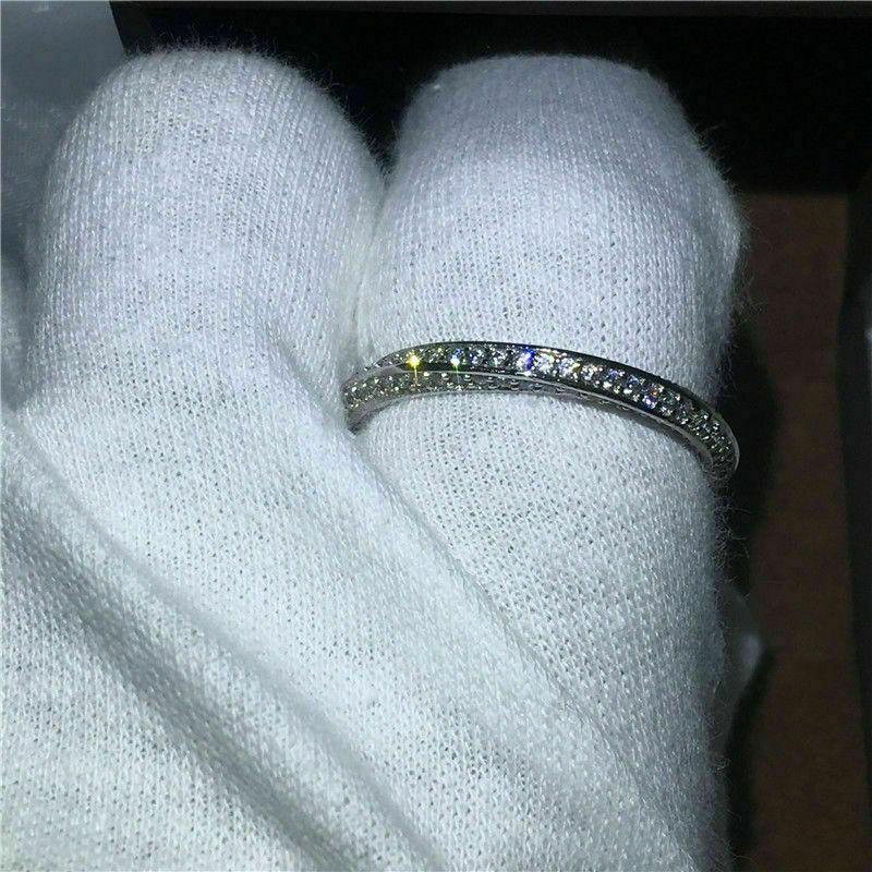 لطيف فيكتوريا Wieck المجوهرات الفاخرة 925 الاسترليني والفضة الشقوق الفرقة محة البيضاء الياقوت تشيكوسلوفاكيا الماس النساء حلقات حفل زفاف 70 L2