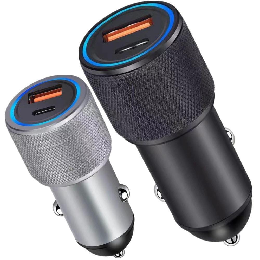 Legierung 2Ports PD-Typ C-Ladegerät 38W QC3.0 Autoladegeräte-Adapter für iPhone 11 12 13 Samsung LG Android-Telefon-PC