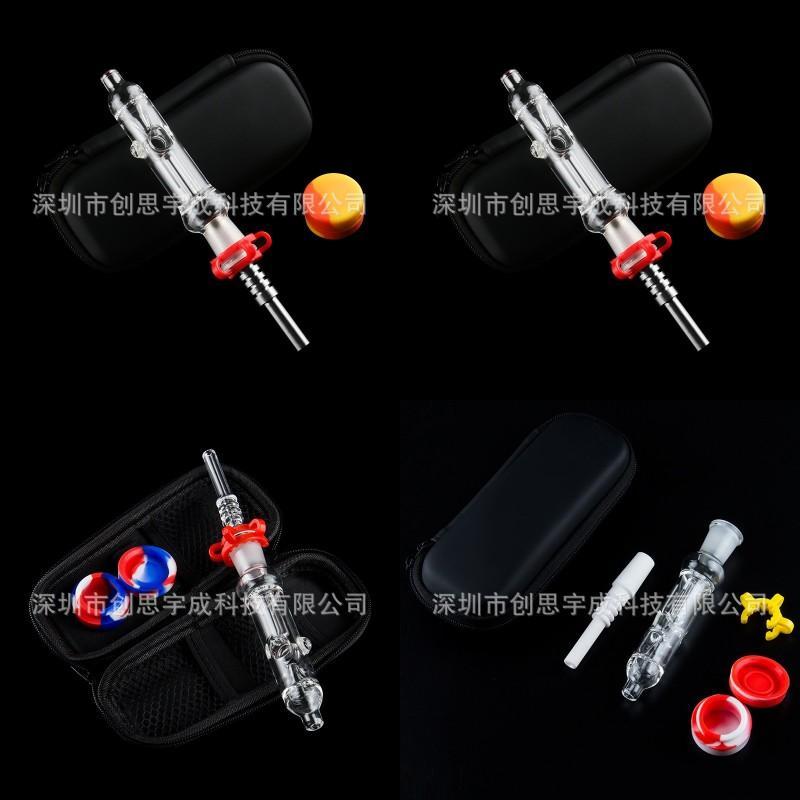 Hızlı teslimat! Mini Nektar Toplayıcı Cam Borular Ile 10mm 14mm 18mm Titanyum İpucu Kuvars Ucu Yağ Teçhizatı Konsantre Dab Saman Cam 436 S2