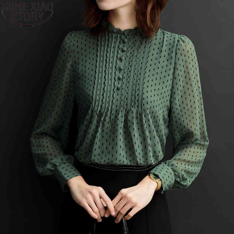 Frauen dot shirts Korean Fashion Office Lady Chiffon Bluse Plus Größe 4XL Langarm Lose Tops Feminine 11859 210512