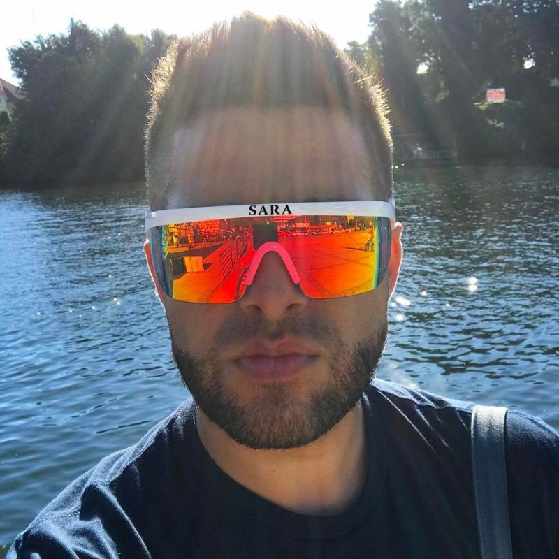 الرياضة في الهواء الطلق نظارات شمسية يندبروف رجل عاكس طلاء نظارات مرآة نظارات محيط كبير مع عدم الانزلاق الأنف حملق ce