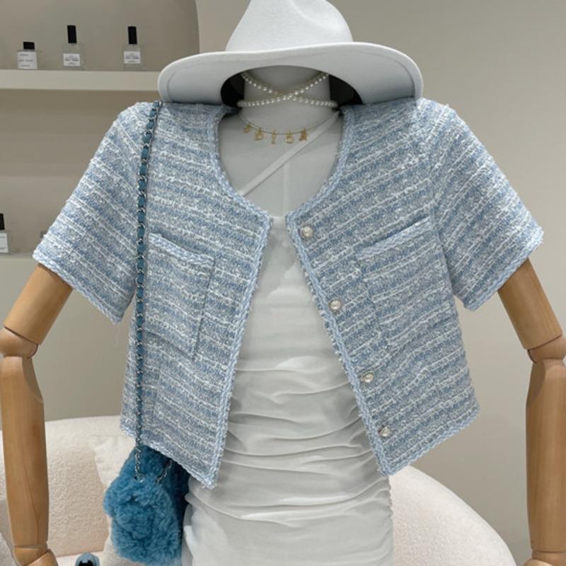 Лето элегантное твидовое короткое короткое пальто джектования женщины корейский шик жемчужина рукава винтажную клетку бешеный женский урожай вершины женские куртки