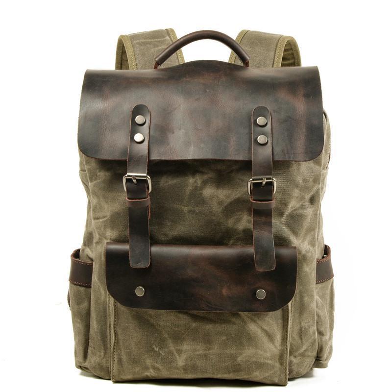 Backpack Waterproof Leather Men Computer Bag Vintage Canvas Large Outdoor Travel Rucksack Designer School Male Knapsack
