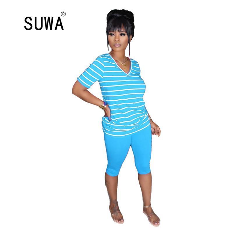 Ev Sokak Kadınlar Çapraz Çizgili V Boyun Kısa Kollu T-Shirt Ve Katı Şort Kadın Eşofman Rahat Takım 4 Renk Kadın Eşofman