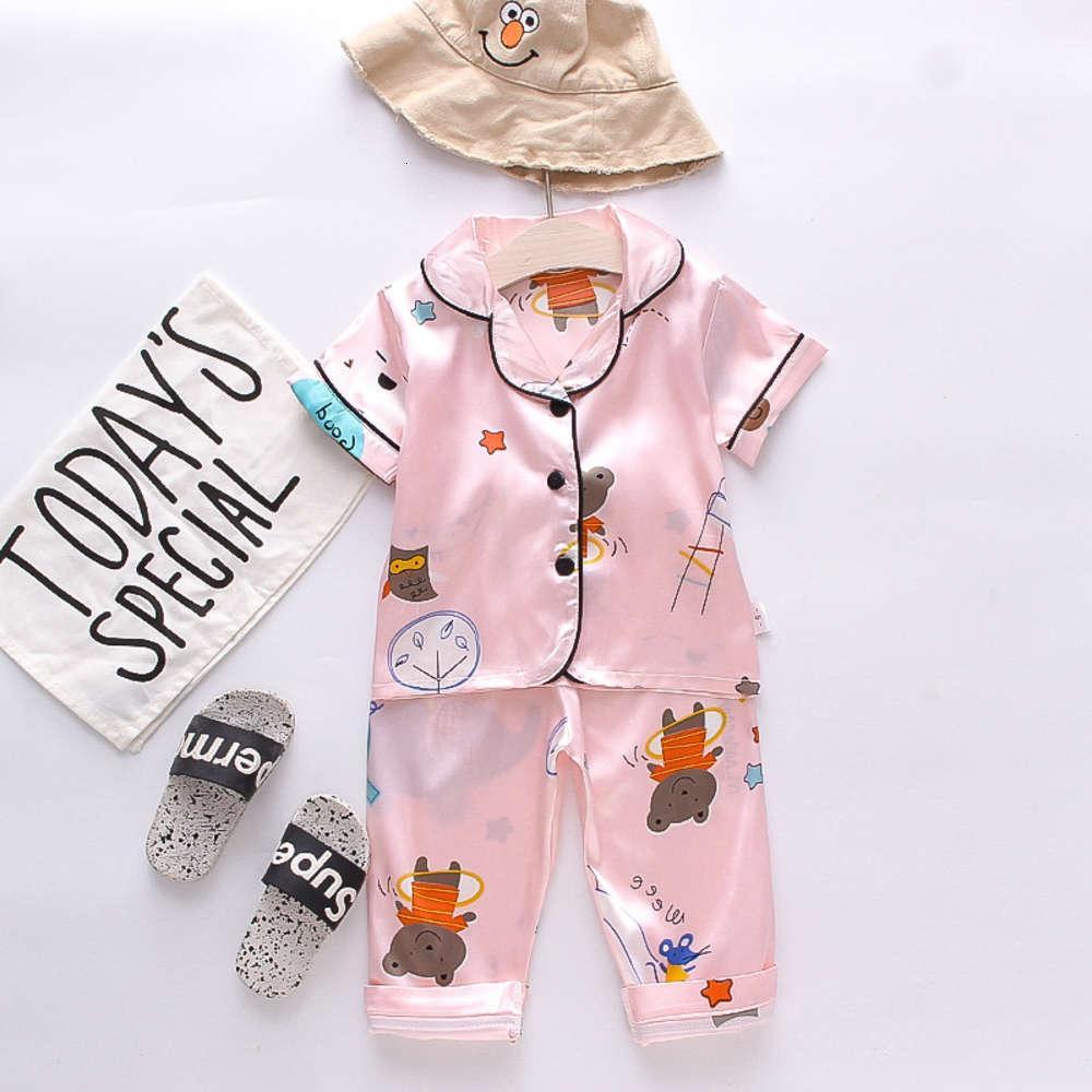 BE03 Детский Домашний костюм 2021 Весна Новый Корейский Мультфильм Пижама для девочек и детей