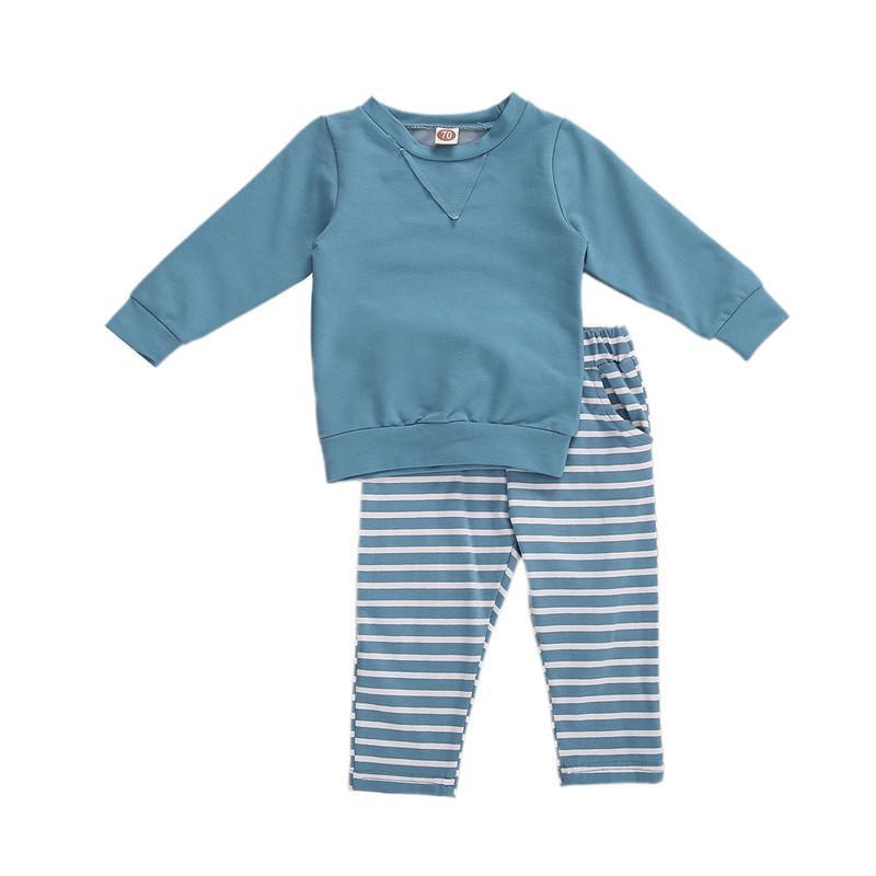 Clothing Sets Born Baby Long Sleeve Trousers Suit Solid Round Neck T-shirt Tops Elastic Stripe Pants 2PCS Spring Boy Girl Set
