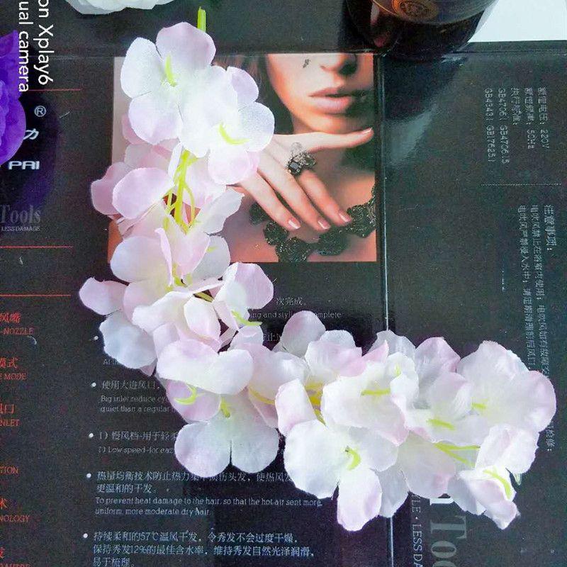 24 가지 색상 우아한 인공 꽃 등나무 꽃 포도 나무 34cm 홈 정원 벽 교수형 DIY 등나무 호텔 파티 웨딩 장식 494 S2