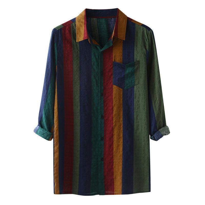 # 36 남자 셔츠 줄무늬 인쇄 된 단일 브레스트 긴 소매 탑스 느슨한 캐주얼 정식 버튼 포켓 망 의류 2021 남자