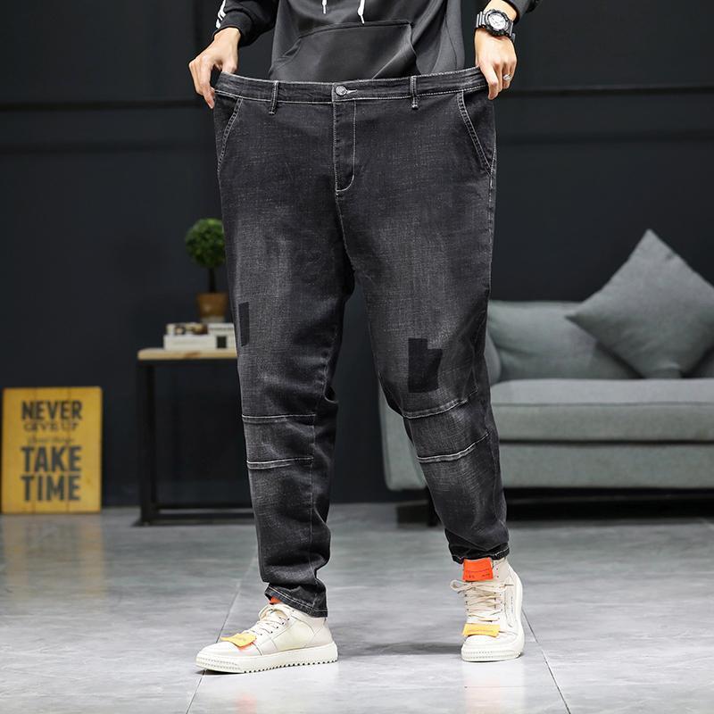 28-46 Artı Boyutu 2021 Yaz Yüksek Kalite erkek Baggy Yırtık Katı Pantolon Kargo Erkek Rahat Denim Moda Erkek Uzun Kot Pantolon