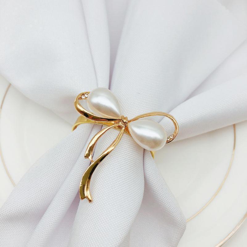 6 teile / los Perle Bogen Serviette Ring Shop Hochzeit Schnalle Tischdekoration Ringe