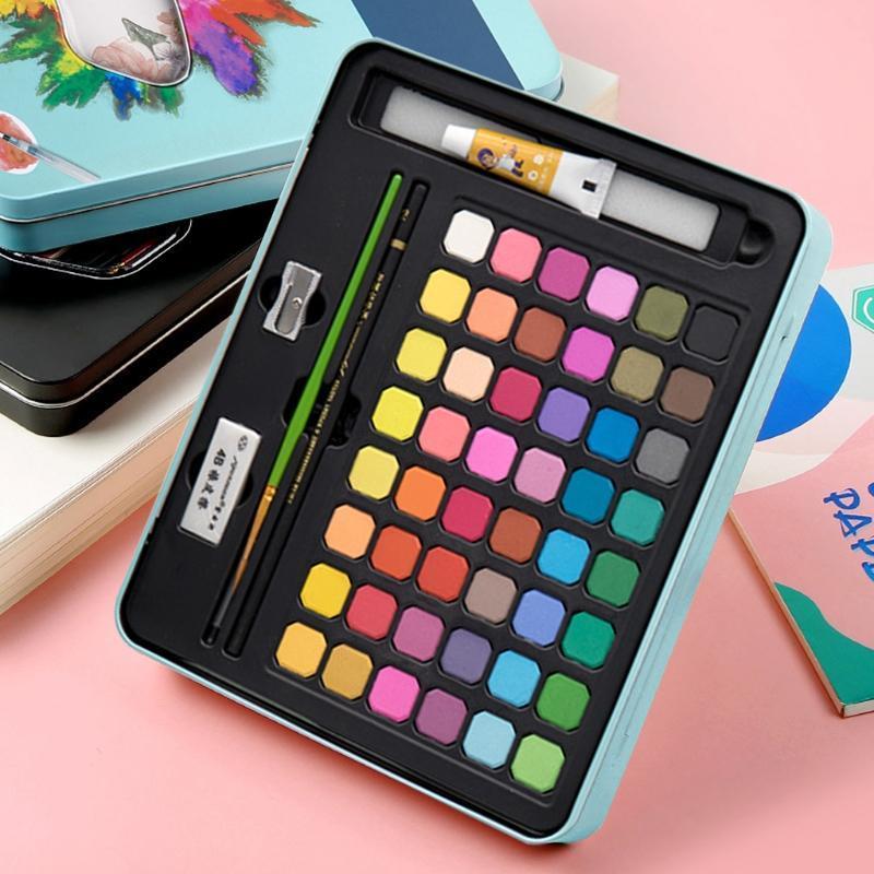 Cores Sólida Aquarela Pigmento Pigmento Portátil Curso Pincel Pen Set para Estudantes desenho Arte Suprimentos Presite Sets