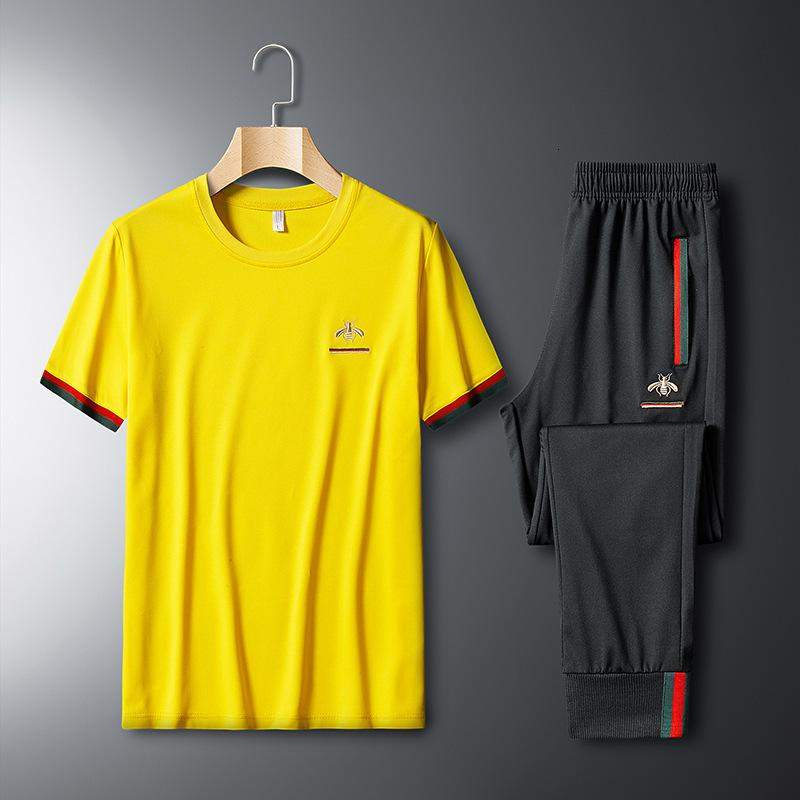 2021 spring and autumn T-shirt summer short sleeve fashion pants boys' yellow sports sweater