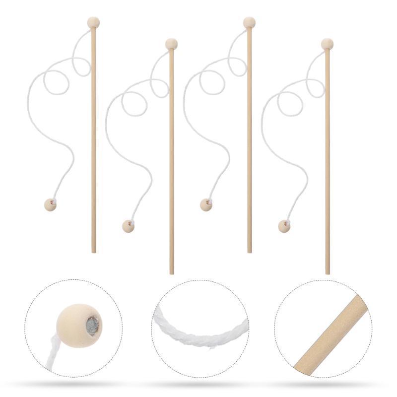 Boat Fishing Rods 4pcs Wooden Magnetic Poles Wood Rod For Kindergarten Kids