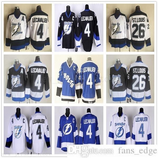 Vintage CCM Tampa Bay Lightning 4 Vincent Lecavalier Jerseys Ice Hockey 26 Martin St. Louis Jersey Ricamo C Patch per Ventilatori Sport Qualità