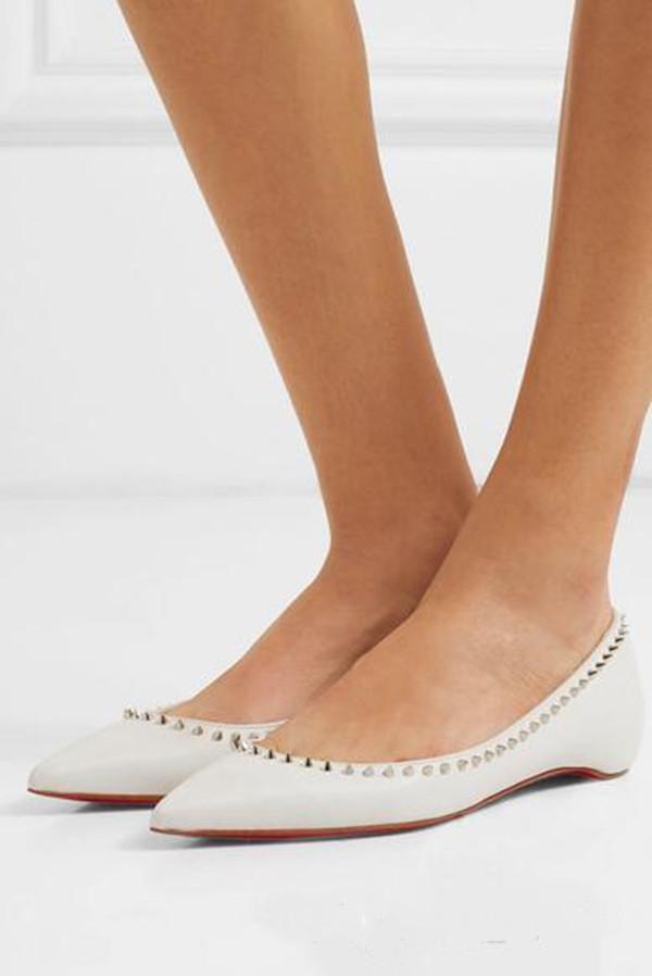 Mulheres de luxo apontou toe Ballerinas Sapatos Vermelho Flat Flat Deslive-on Baillet Couro Preto Sexy Senhoras Andando Sapato Feminino com Caixa, EU35-43