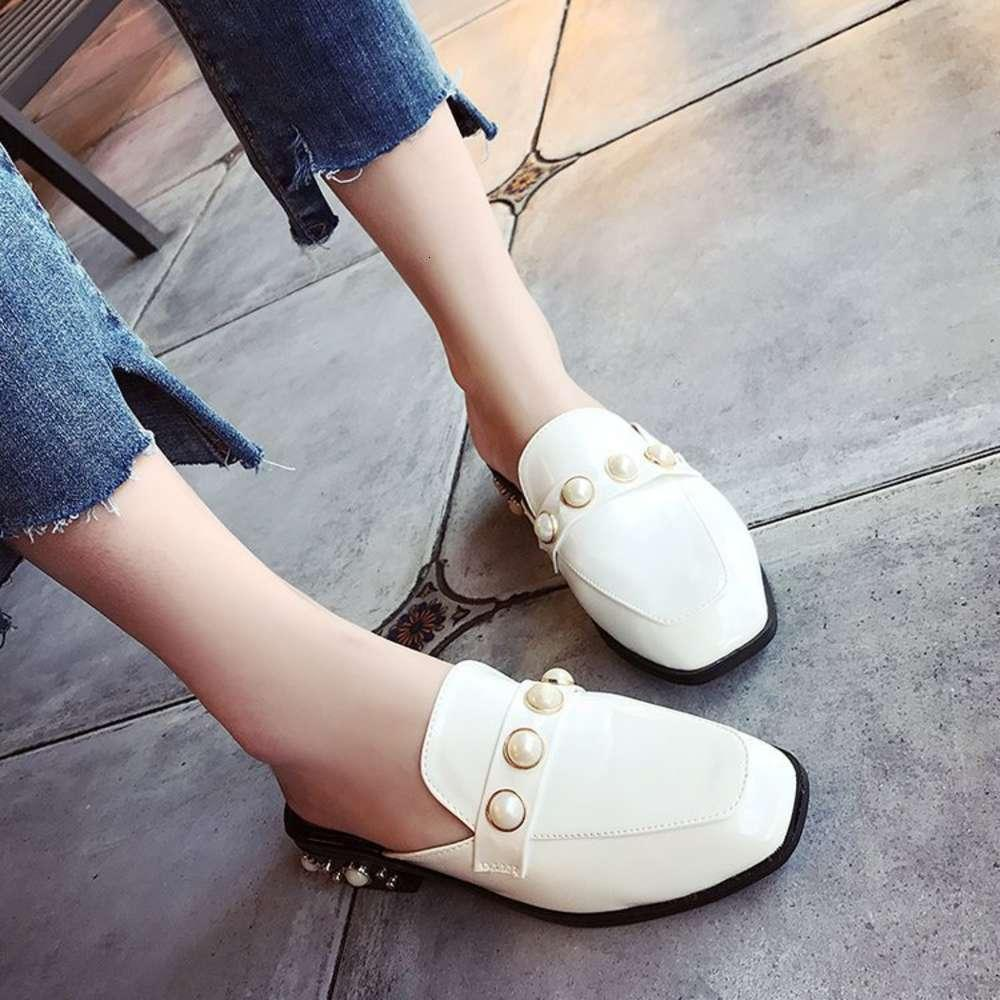 Sandal Baotou Meia Mulher Sapatos Versátil Versátil Buckle Pérola Cabeça de Pérola Grosso Desgaste Chinelos frescos