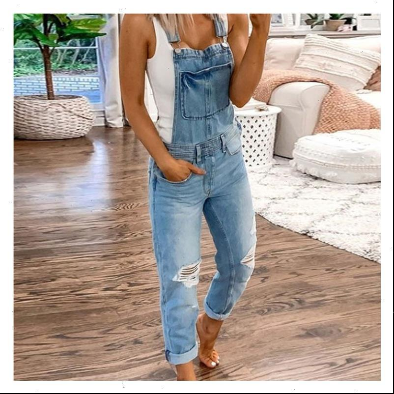 Cargo Pants Women Jean Holes Slim Fit Overalls Womens Ripped Suspenders Printed With Jeans Washed Streetwear