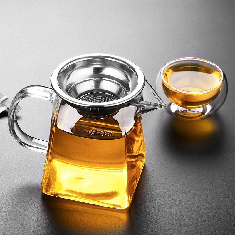 Чистый боросилитический стеклянный чайник с инфузором из нержавеющей стали, прозрачный элегантный стеклянный чай чай чайник чайник чайник пашок 304 S2