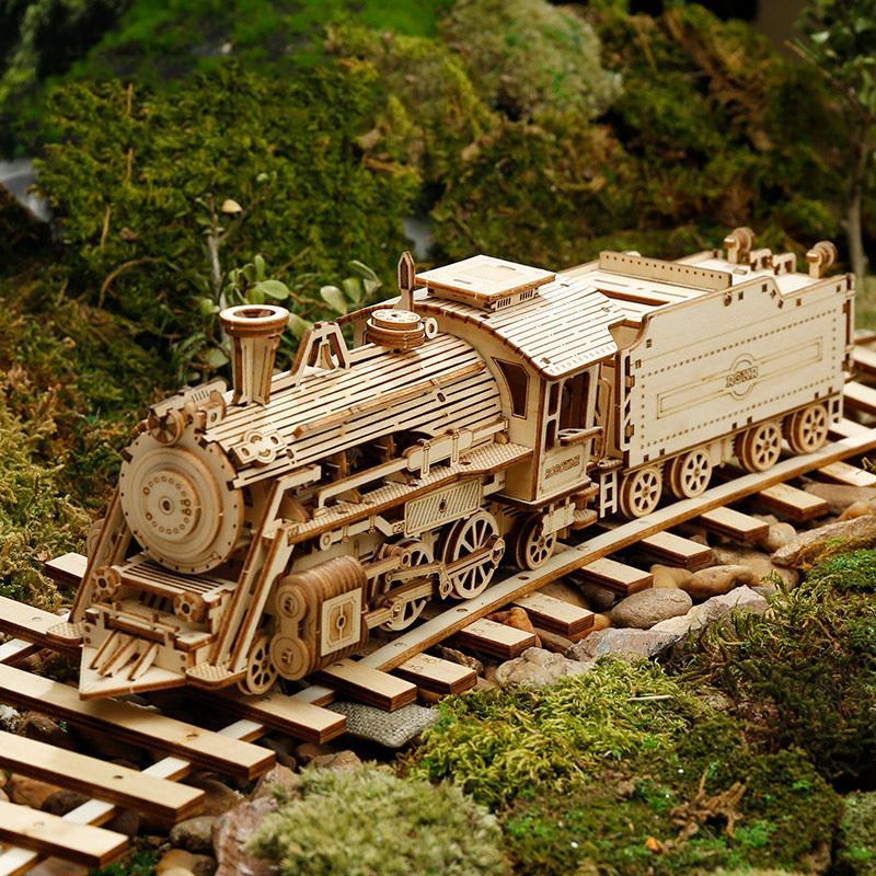 Modelo de Trem de Madeira 3D Modelo DIY DIY Treinamento de Madeira Trem Modelo Kit Modelo Modelo Decoração Home Crafts 210318