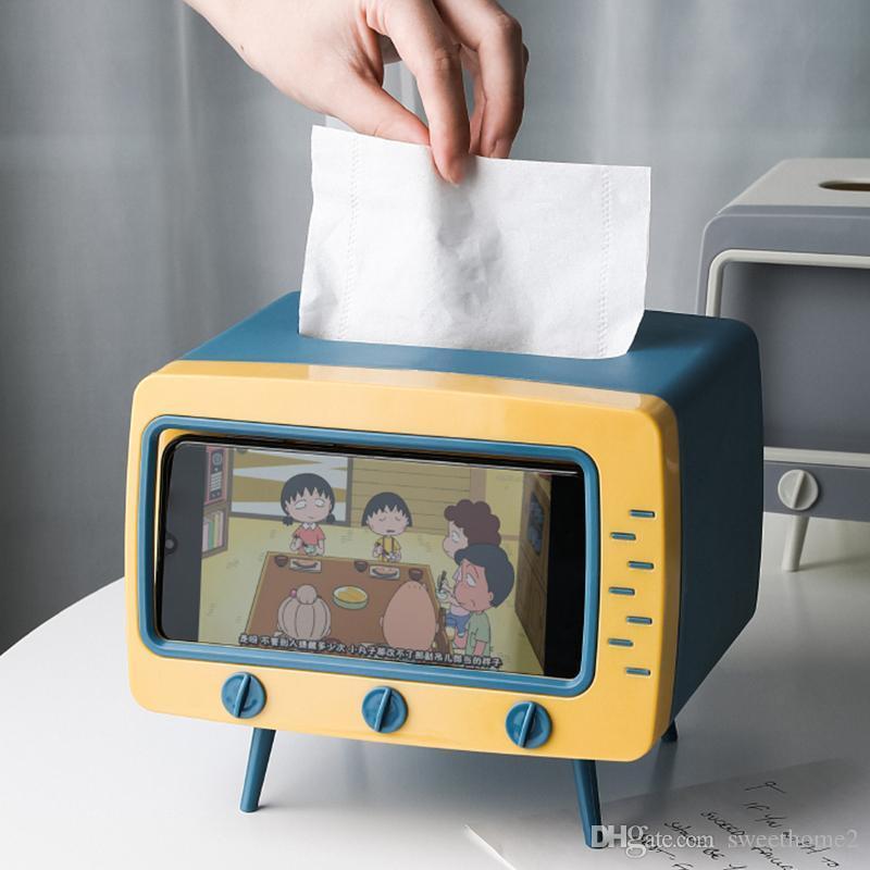 2 في 1 مربع تلفزيون مربع سطح المكتب حامل ورقة موزع تخزين منديل حالة المنظم مع الهاتف المحمول