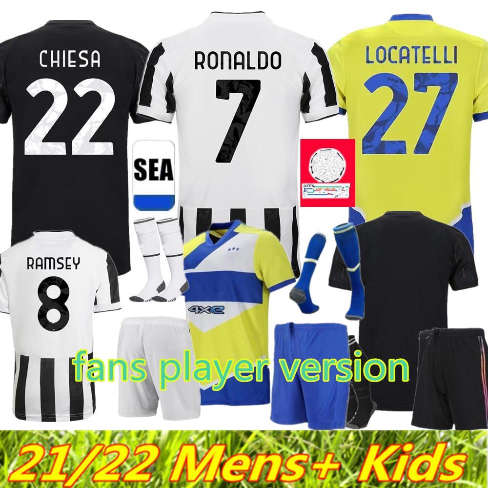 Jersey de football Version Jersey de football 2021 2022 Ronaldo Dybala Morata Chiesa McKennie Kit de football Chemise 21 22 Juve Men + Enfants Quatrième 4ème 4ème Set avec Chaussettes Gardien de but