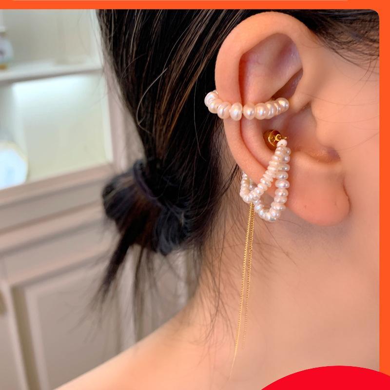 Tassel Pearl No Hole French Elegant Oree Bone Clip Moda Versátil Pendientes