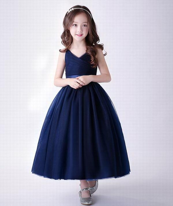 Flor menina marinha vestido 2020 novo estilo fofo vestido de esfera desempenho vestido de noite crianças roupas 4-14Y E9726