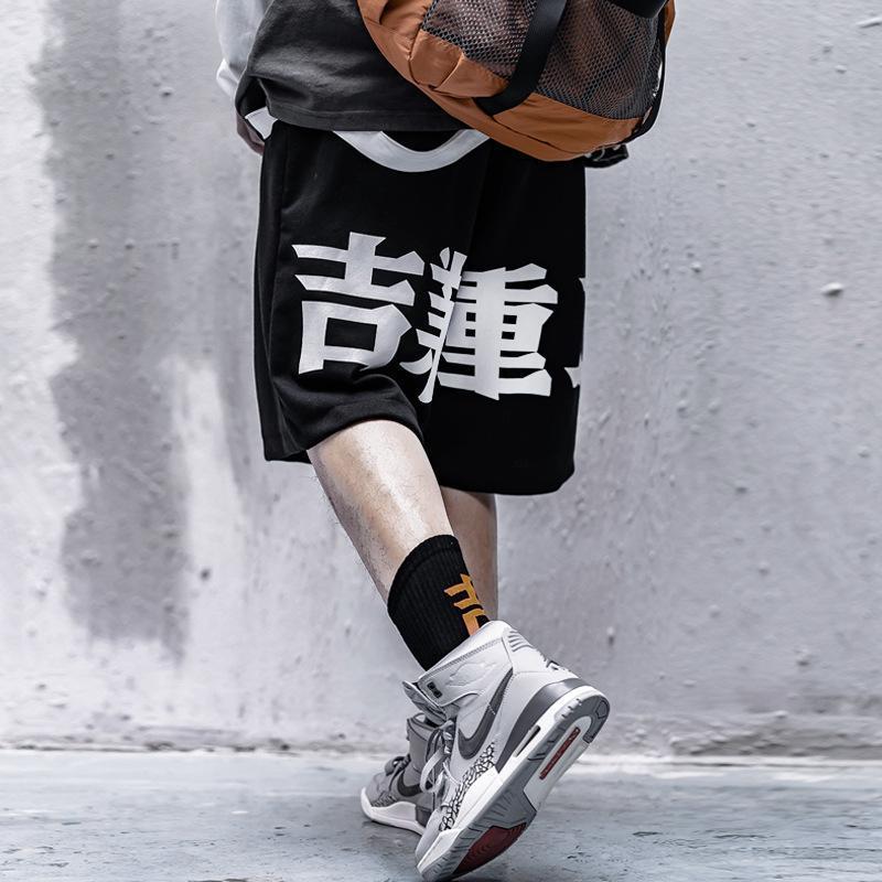 Techwear Estilo Japão Imprimir Hip Hop Preto Calças Curtas Homens de Verão Streetwear Solto Algodão Basculador Sweatpants Carga de Carga Superior