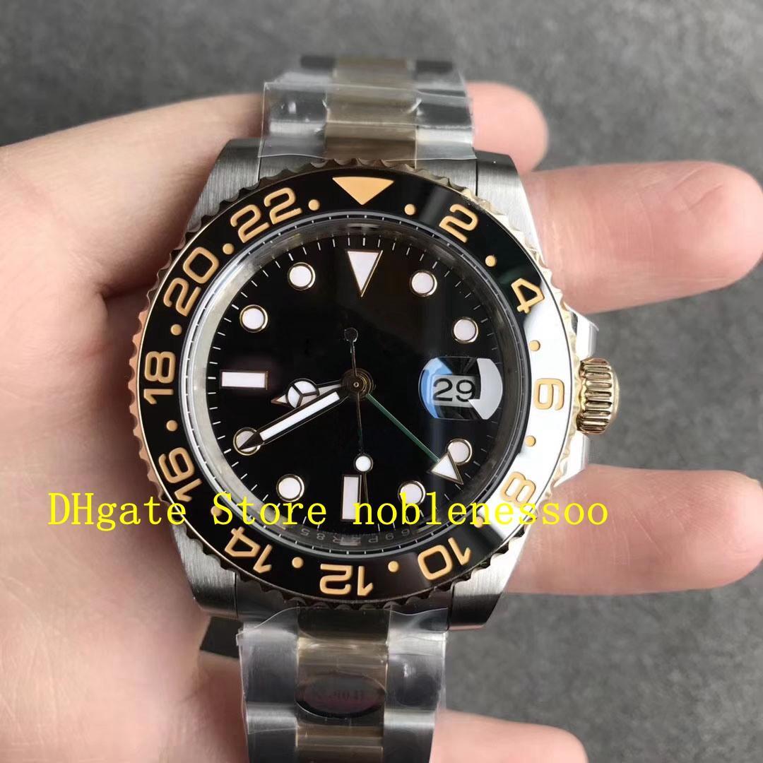 Super N Factory 904L reloj automático Real envuelto 18k oro nunca se desvaneció los hombres cal.3186 Movimiento 116713ln Cerámica de cristal de zazel GMT 116713 Noobf Hombres Relojes
