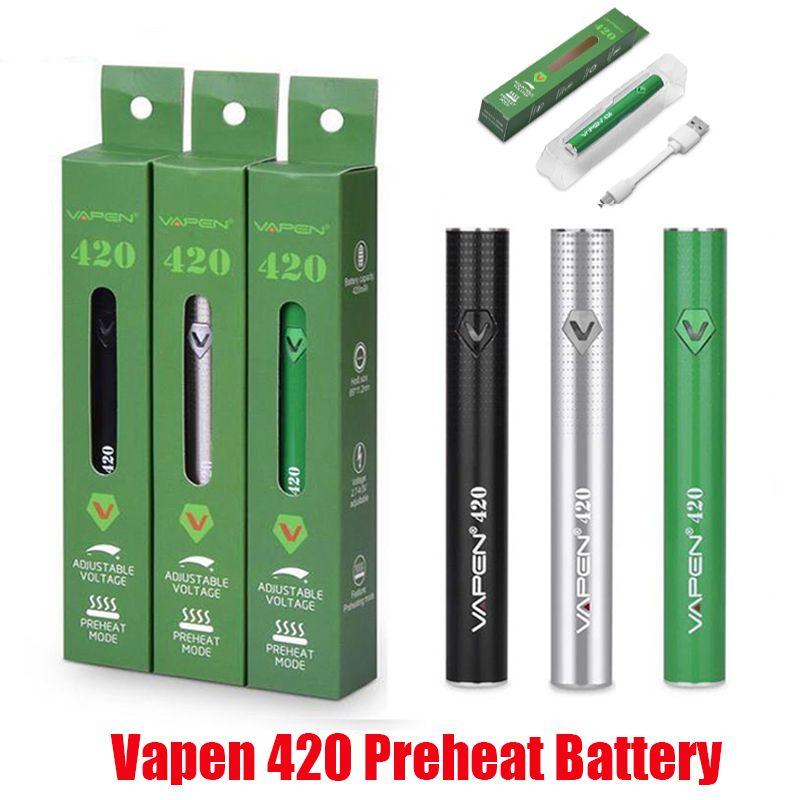 Original Vapen 420 precalentamiento de la batería de 420mAh Precalentamiento VV VAPE CAJA MOD AJUSTABLE VOLUETABLE USB USB para 510 EGO Cartucho de aceite grueso 100% auténtico
